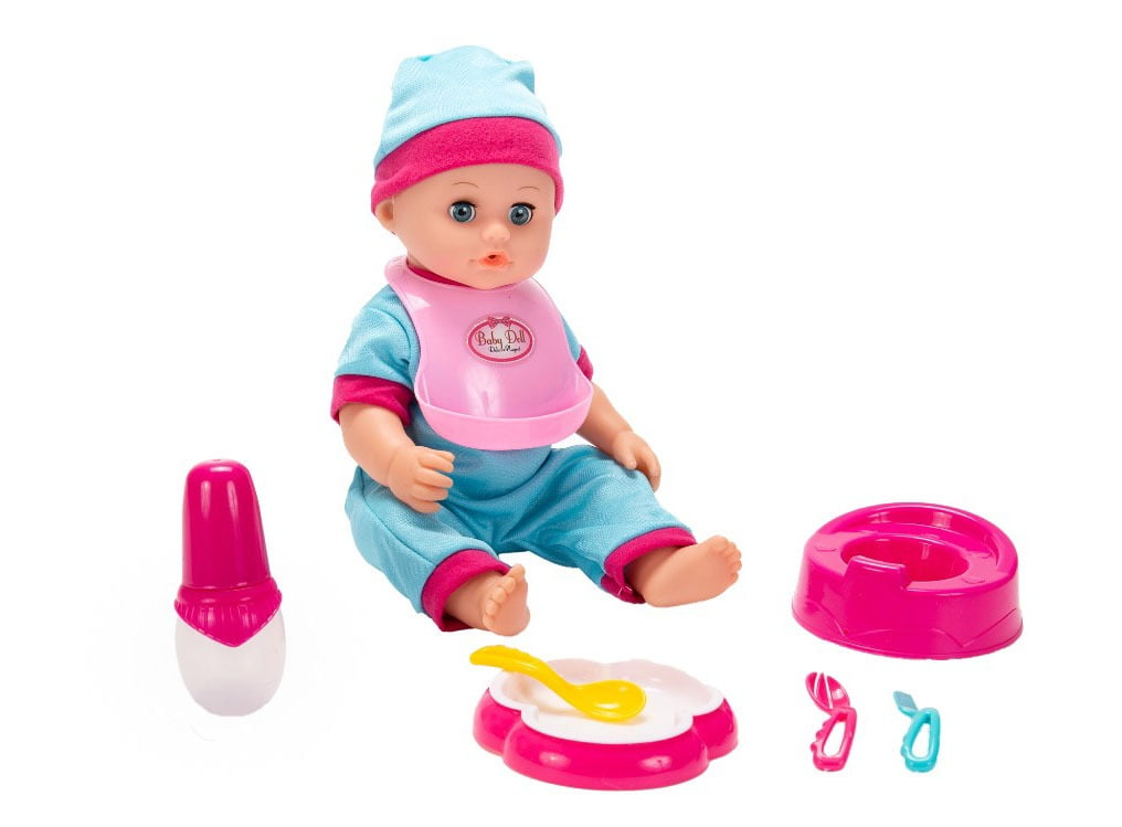 Boneca c/ Som   Carrinho de boneca   Berço   Tapete   kit brinquedos